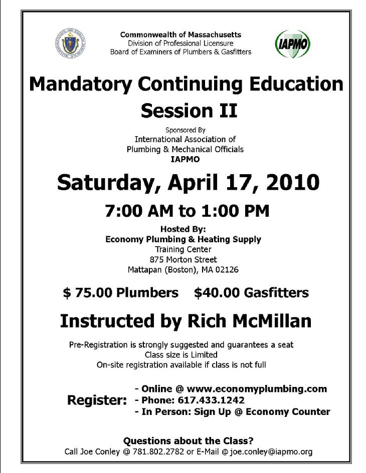 ... below for any of the classes being offered at Economy Plumbing Supply